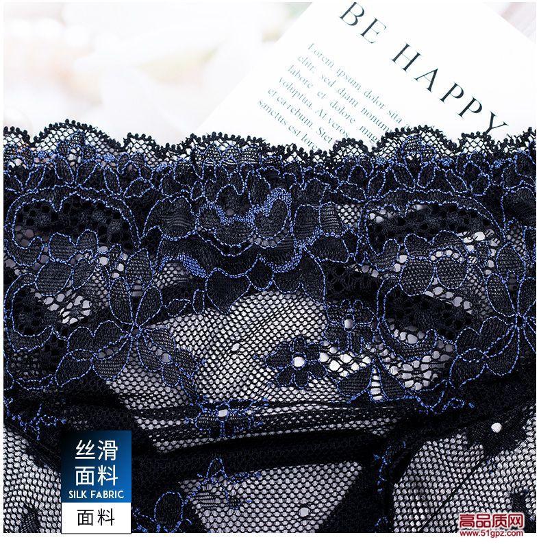 灰藏蓝肤色新款性感蕾丝内裤女士透明诱惑交叉舒适面料棉档三角裤