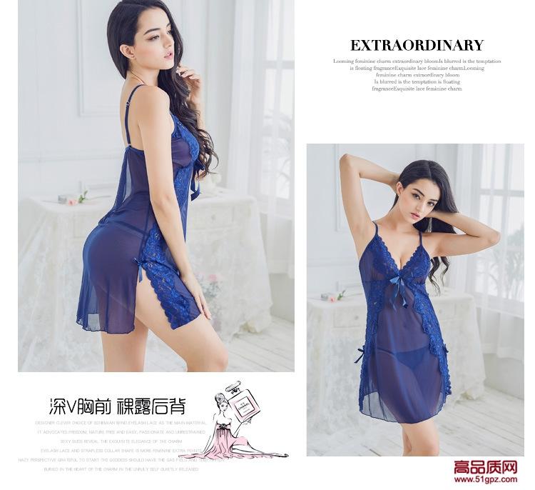 女性感透视深V睡衣极度诱惑情趣内衣透明网纱睡裙三件套吊带裙