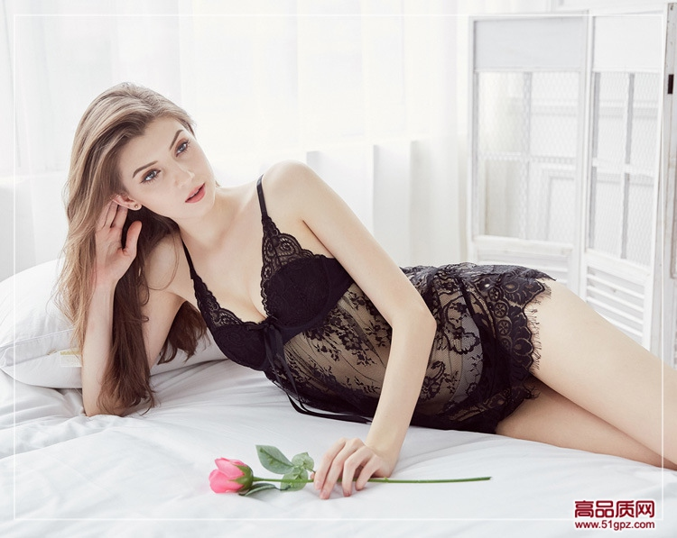 欧美风格薄款带罩杯新款情趣内衣女性感妩媚蕾丝睫毛花边睡衣吊带裙睡裙