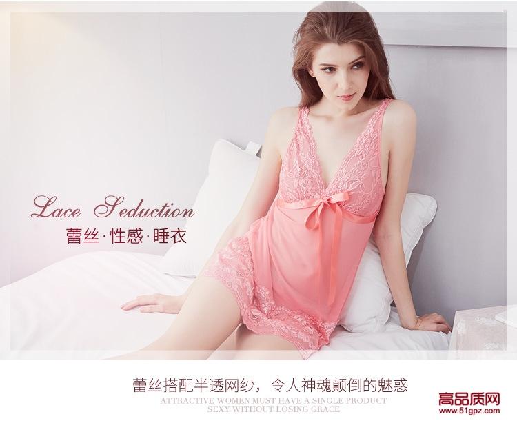 情趣内衣欧美外贸大码女式可爱性感蕾丝网纱透视睡衣睡裙吊带裙