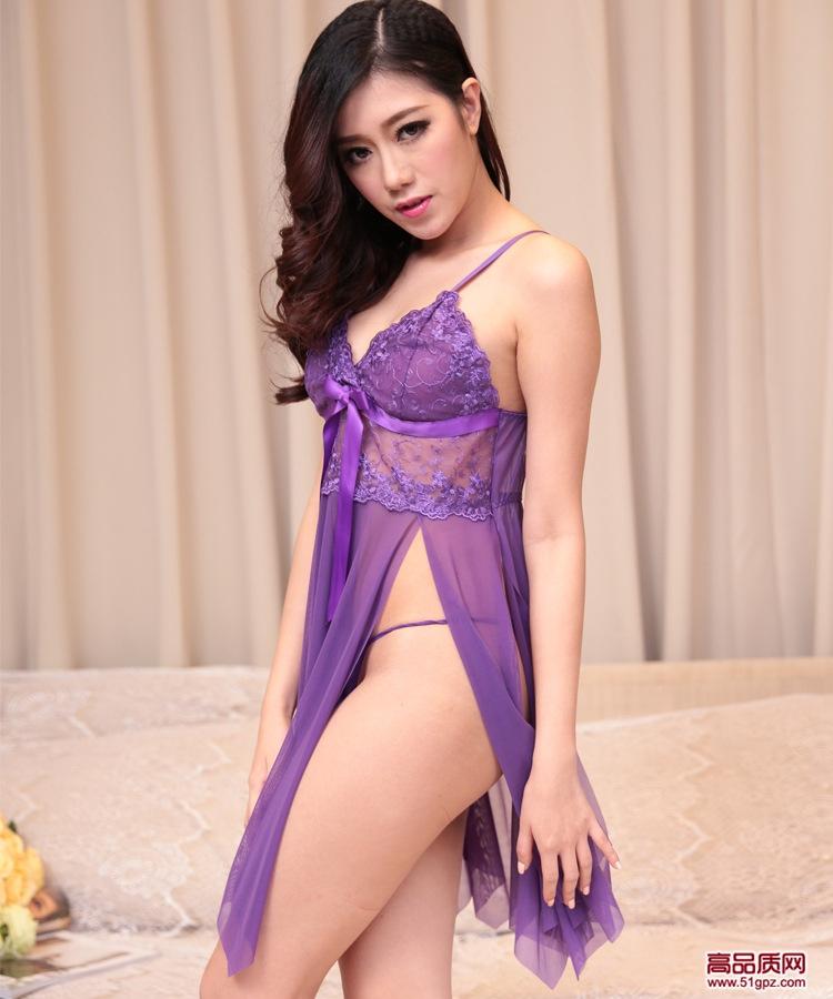 欧美外贸性感蕾丝睡衣大码开叉吊带睡裙情趣内衣网纱透视吊带裙