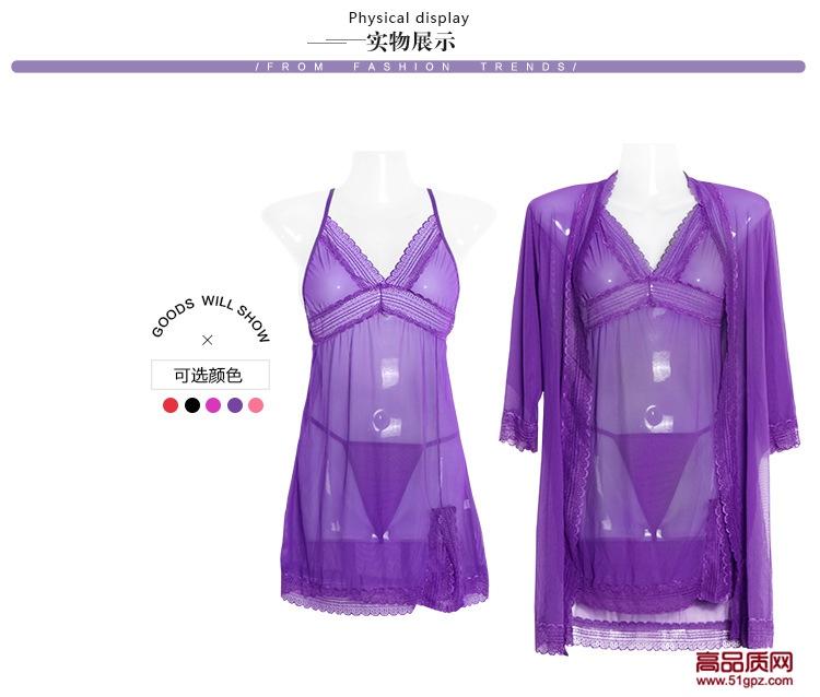 女性感蕾丝网纱透明透视诱惑高档情趣内衣三件套睡衣睡裙吊带裙