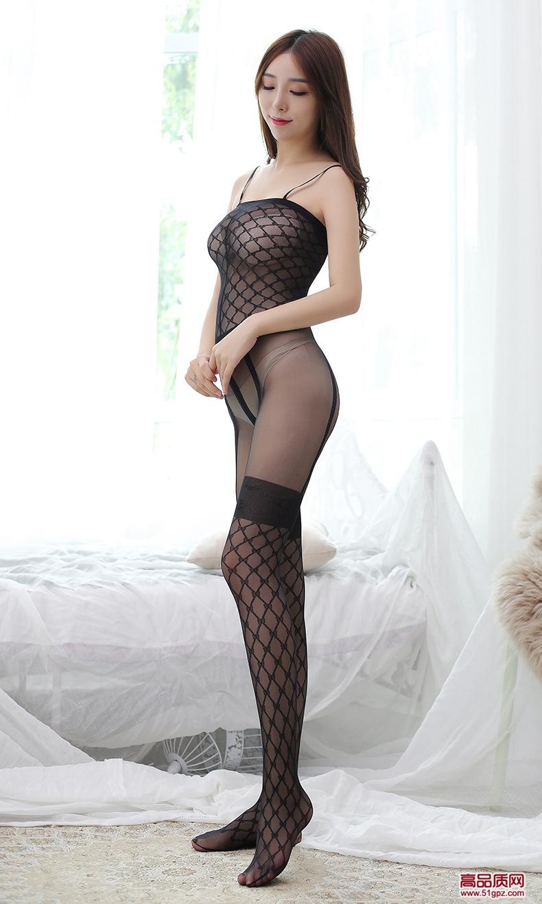 黑色性感网格透视少女士学生护士连身衣紧身连体吊带情趣内衣丝袜装诱惑