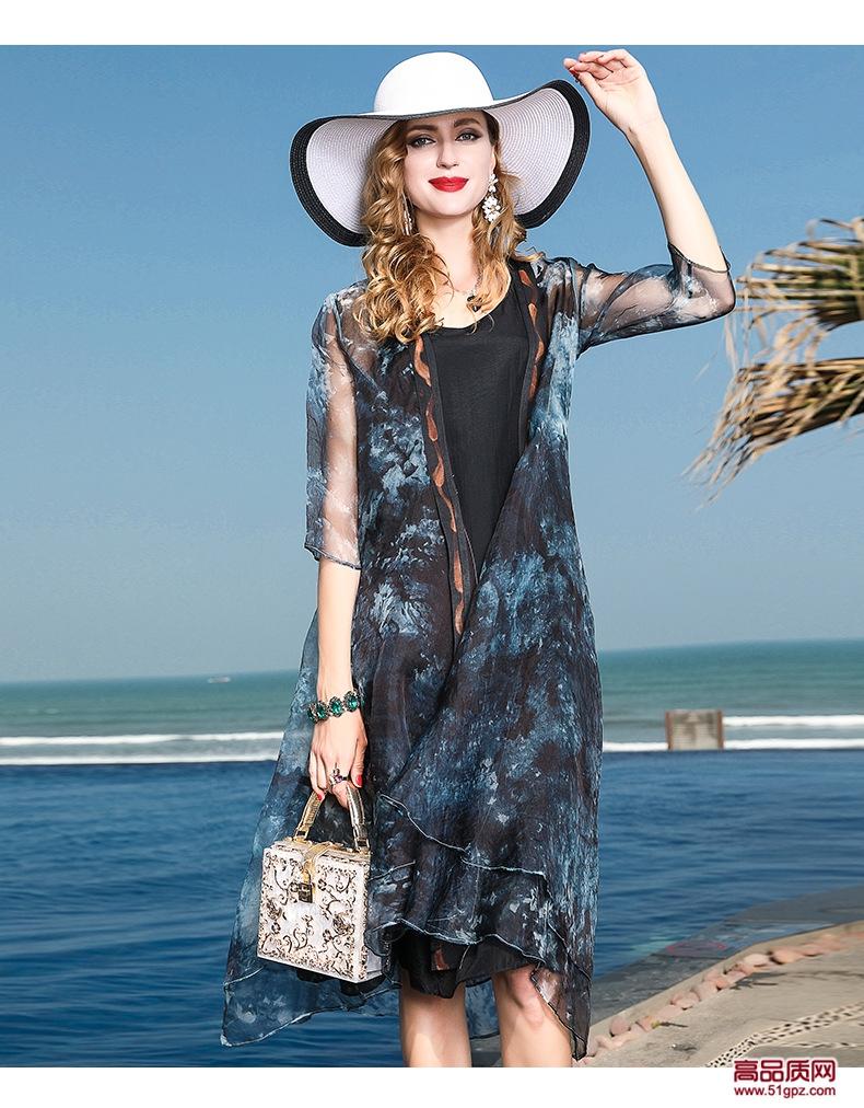 灰花色连衣裙夏妈妈装2018中年女士真丝外披防晒衫开衫两件套薄款外套沙滩裙