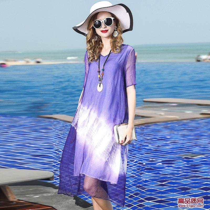 连衣裙夏2018紫色新款欧美修身女装真丝蚕丝欧根纱中长裙沙滩裙子