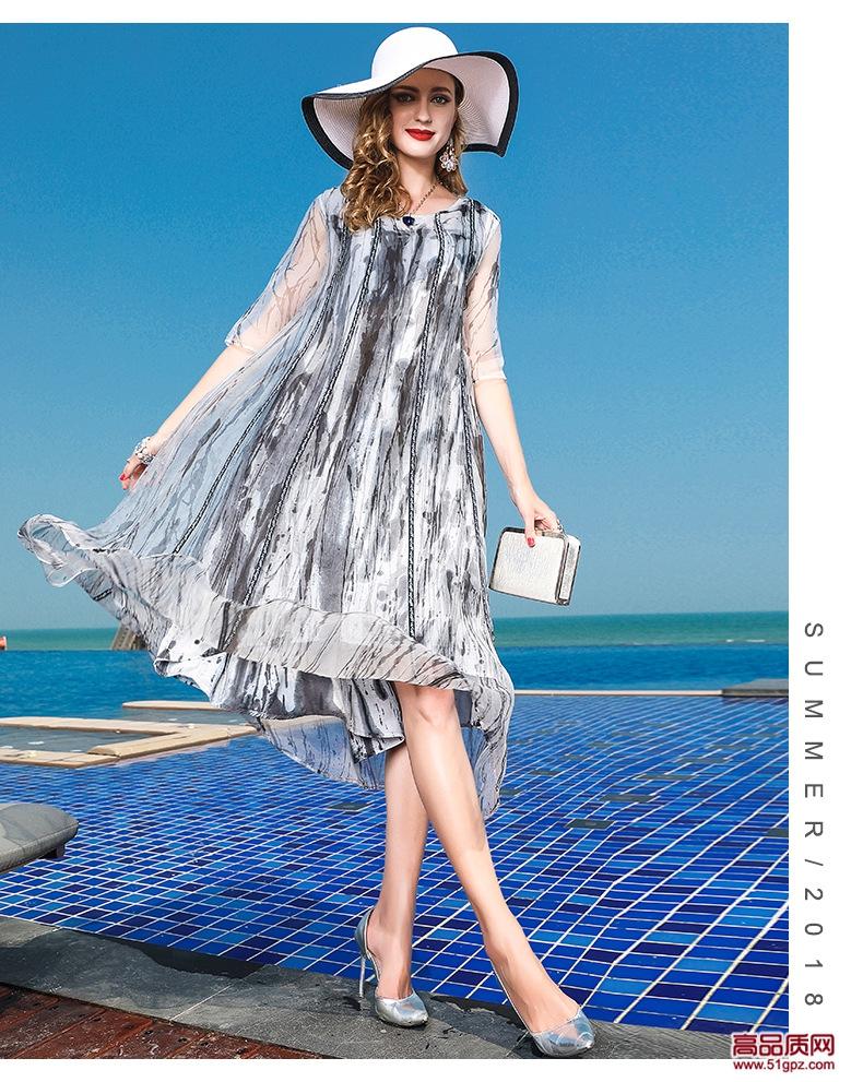 连衣裙夏2018灰色新款欧美修身大码女装真丝蚕丝欧根纱中长A字裙沙滩裙子