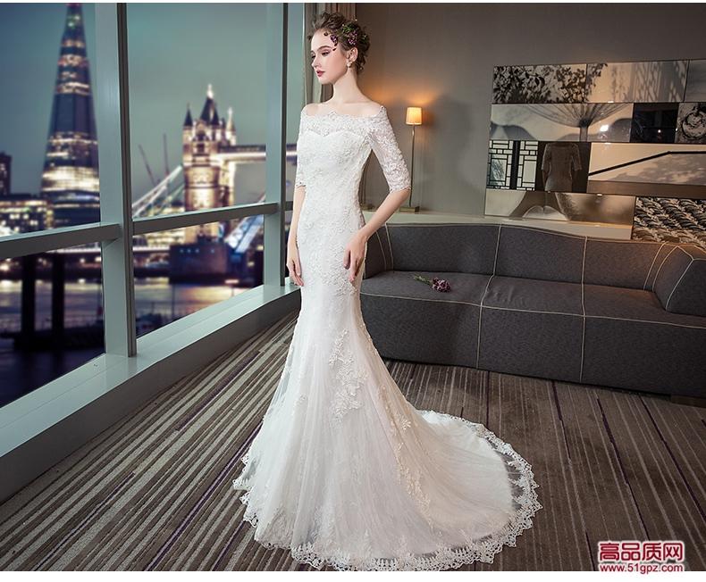 一字肩婚纱礼服2018新款新娘结婚欧美公主显瘦长袖鱼尾小拖尾轻夏