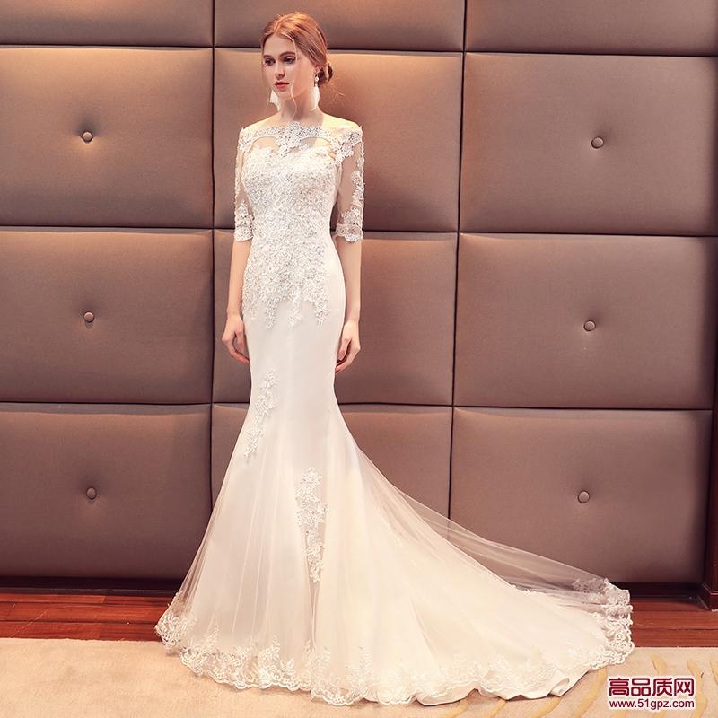 白色婚纱礼服2018新款新娘结婚欧美显瘦修身长袖一字肩婚纱鱼尾冬季