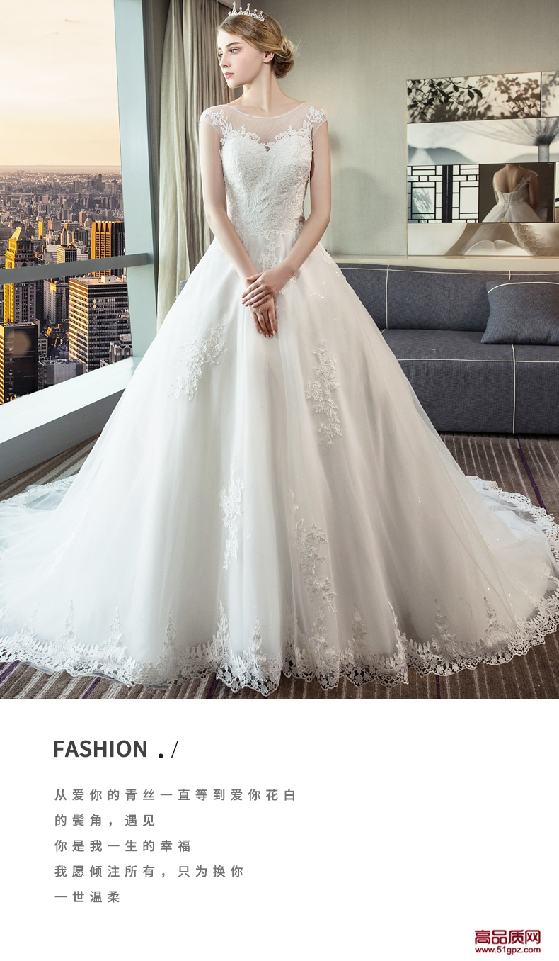 白色无袖婚纱2018新款新娘结婚礼服拖尾显瘦公主梦幻欧美奢华女性感