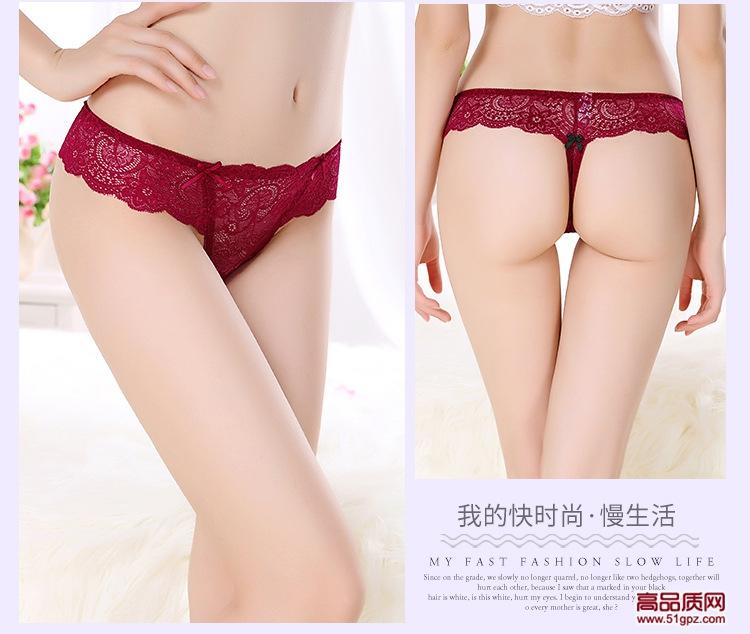 女士全棉裆性感蕾丝透明小内裤一片式无痕低腰丁字裤诱惑T字裤