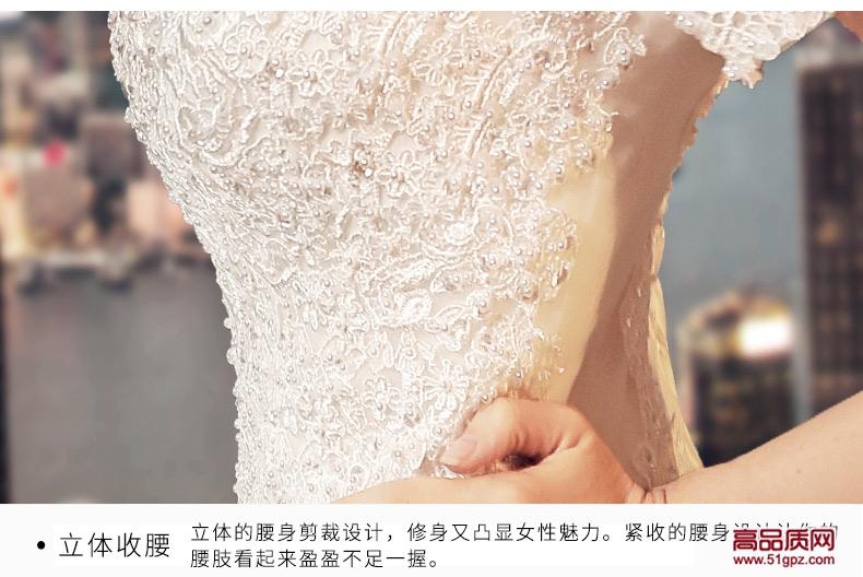 白色婚纱礼服2018新款新娘结婚欧美显瘦修身v领鱼尾婚纱小拖尾
