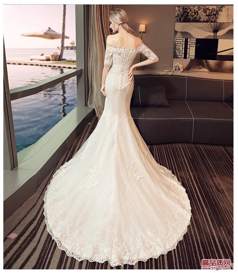 白色一字肩鱼尾婚纱礼服2018新款新娘结婚公主显瘦长袖小拖尾婚纱春夏