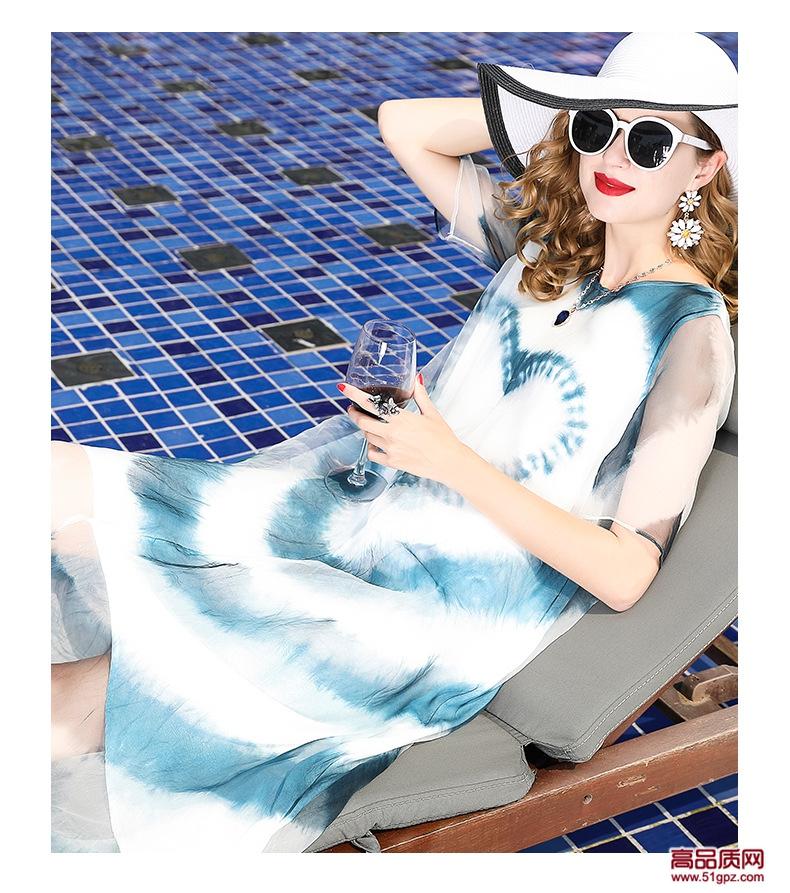连衣裙夏2018白粉色欧美修身女装真丝蚕丝欧根纱中长印花沙滩裙子