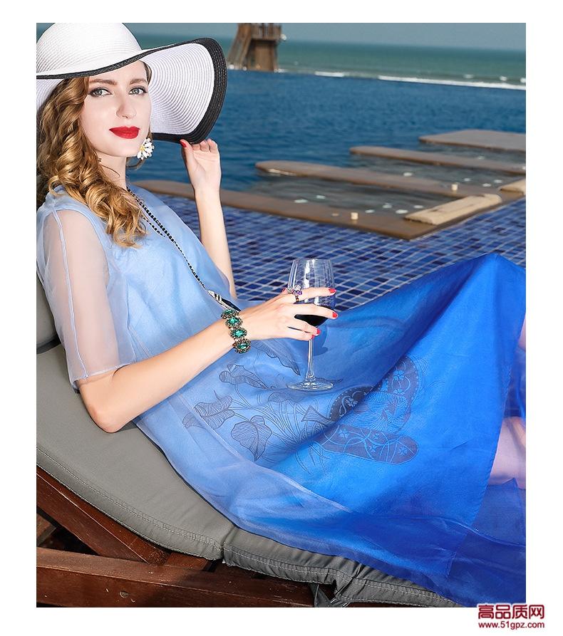 连衣裙夏2018蓝色欧美修身大码女装真丝蚕丝欧根纱中长A字裙印花沙滩裙子