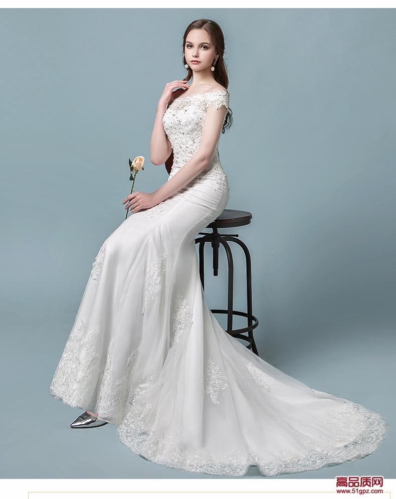 白色一字肩鱼尾婚纱礼服2018新款新娘欧美宫廷公主显瘦修身小拖尾春夏