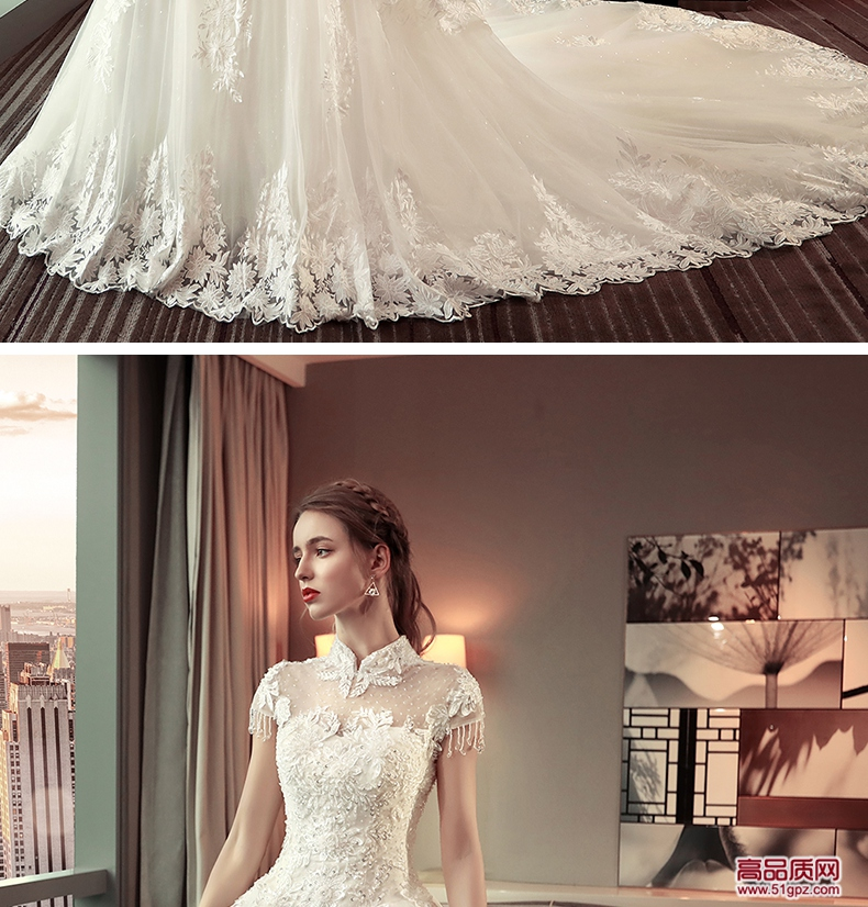 象牙白色婚纱礼服2018新款结婚韩版婚纱礼服新娘显瘦公主长拖尾宫廷