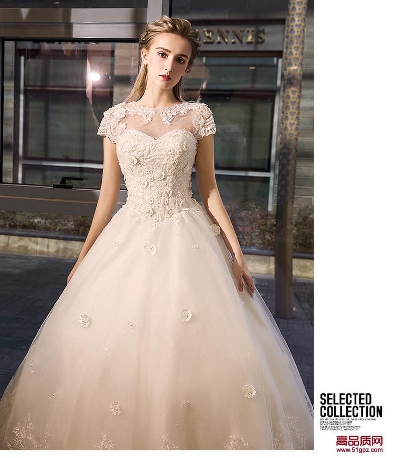 象牙白色婚纱礼服2018新款齐地绑带婚纱礼服韩式新娘结婚包肩显瘦蓬蓬裙