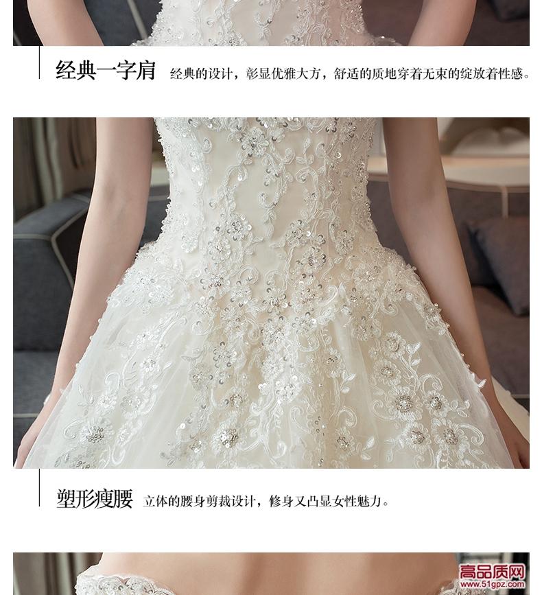 香槟色拖尾齐地婚纱礼服2018新款新娘长拖尾韩版宫廷欧美简约一字肩齐地