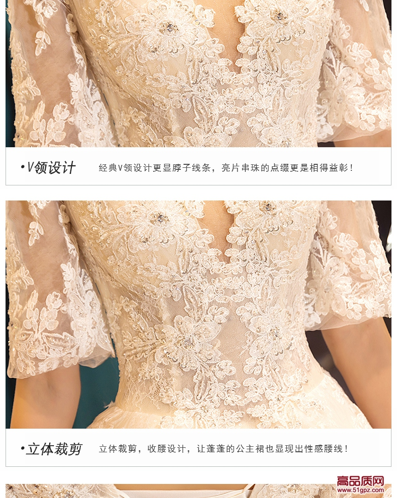 浅香槟色婚纱礼服2018新款新娘结婚宫廷公主梦幻欧美奢华显瘦