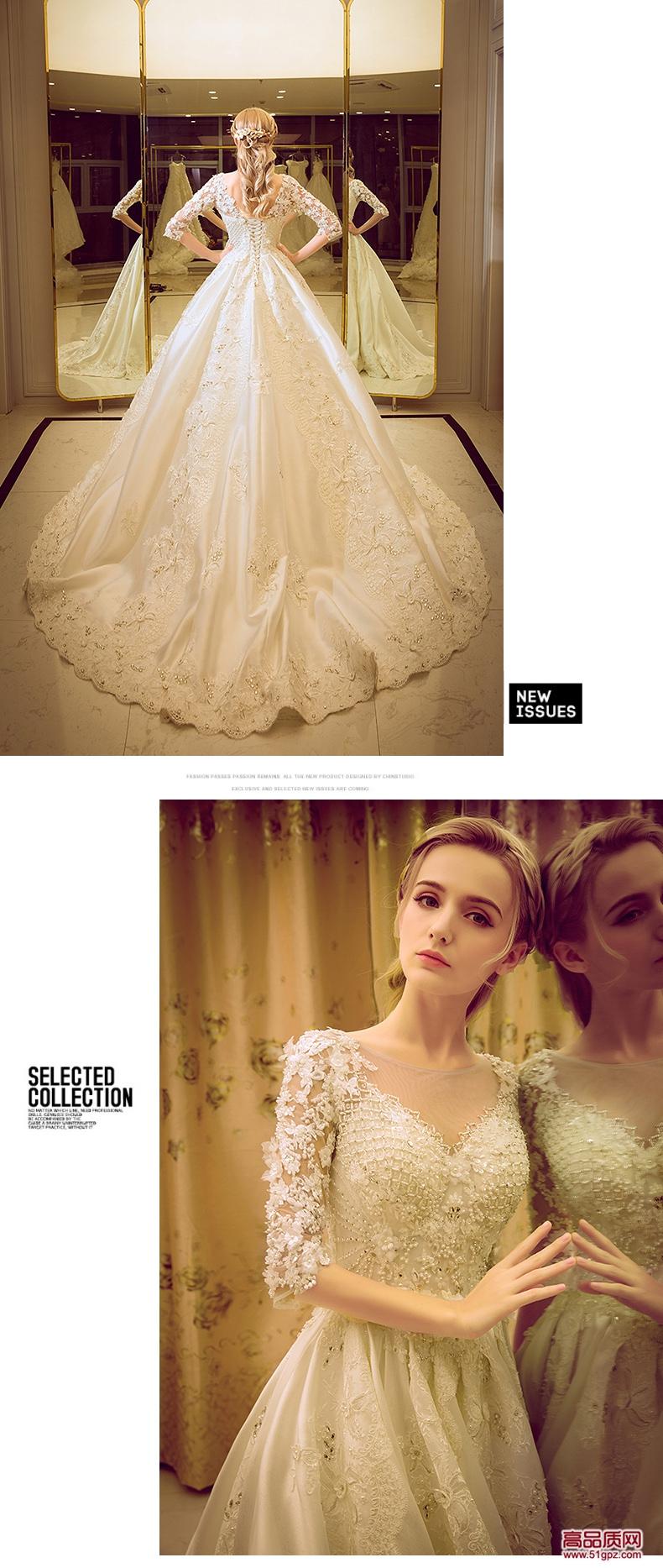 象牙白婚纱礼服新娘长拖尾齐地宫廷长袖蓬蓬裙韩式婚纱2018新款