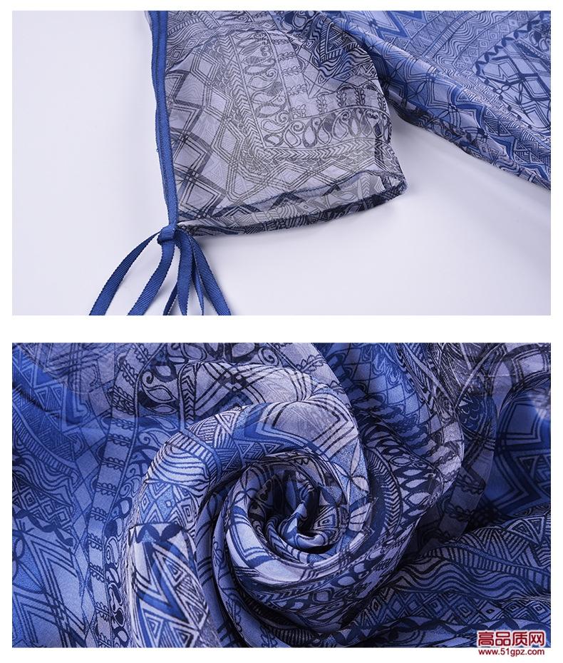 2018夏季新款蓝色欧美时尚气质女装大码宽松欧根纱中长真丝连衣裙