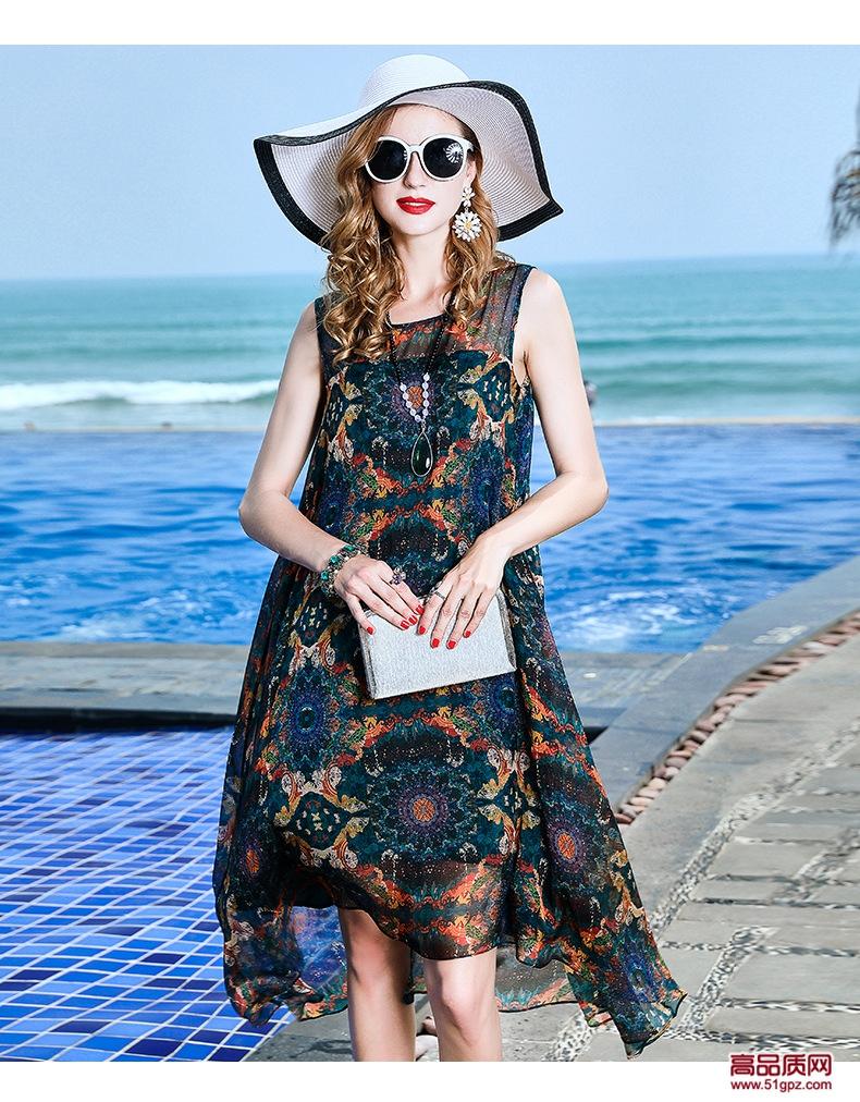 连衣裙夏2018绿花色欧美修身女装无袖真丝蚕丝大码宽松沙滩裙子