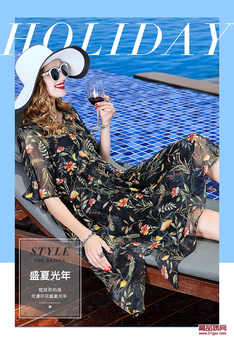 连衣裙夏2018黑红花色修身女装无袖真丝蚕丝大码宽松印花沙滩裙子