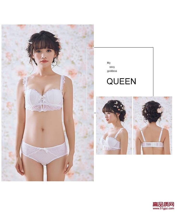 白色新款性感蕾丝边植物花卉小胸聚拢少女内衣套装文胸内裤