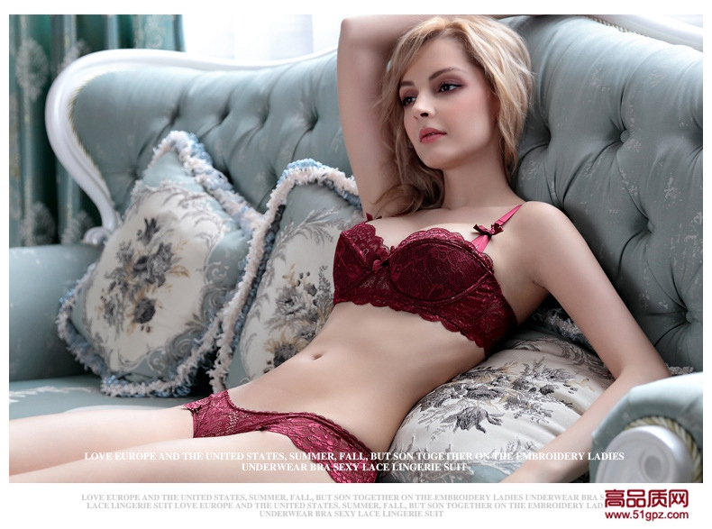 白色红色灰色黑色新款蕾丝薄棉性感女士内衣半杯舒适透气文胸套装
