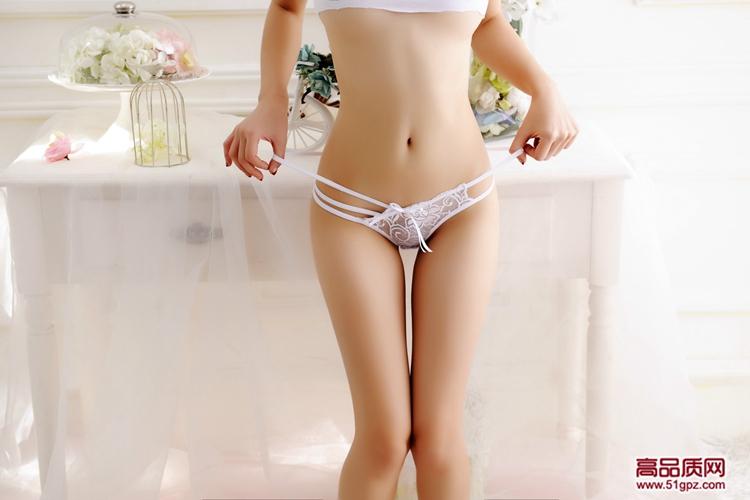 白红紫黑蓝玫红肤色性感蕾丝透明情趣诱惑女士低腰三角内裤蝴蝶结镂空细带丁字裤T裤