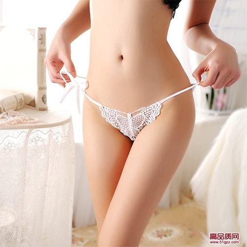 白红紫黑蓝粉肤色性感女大码情趣系带蕾丝低腰镂空蝴蝶透明三角裤内裤