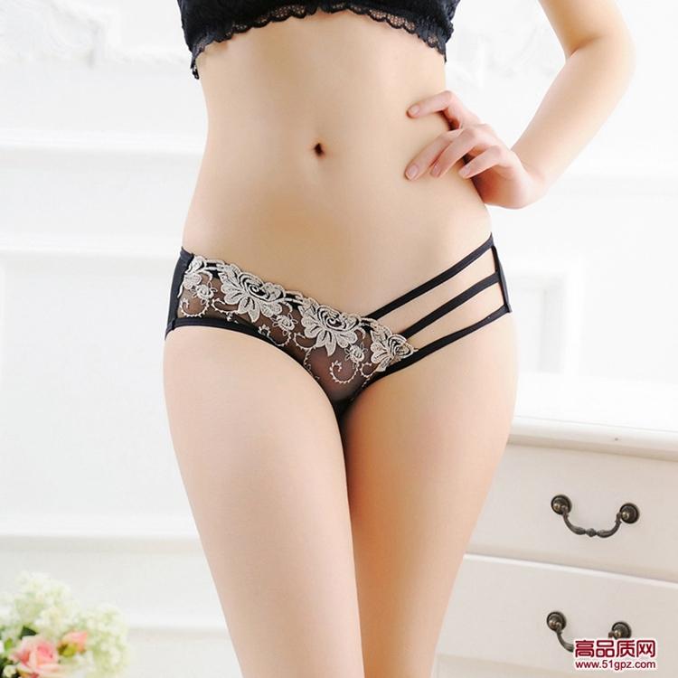 白红紫粉肤蓝色女性感蕾丝镂空透明网纱超薄绣花透气细带三角裤头内裤