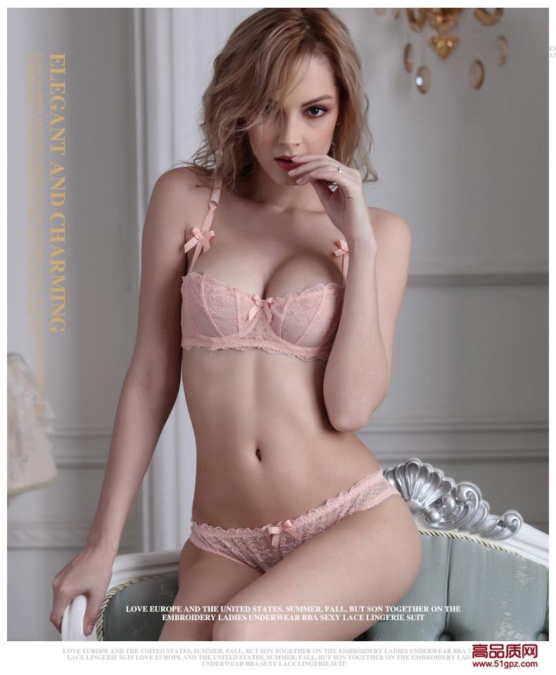 白粉黑色性感妩媚蕾丝超薄透明无垫1/2罩杯内衣文胸套装