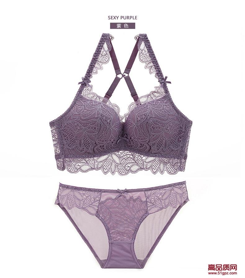 欧美外贸白紫黑酒红色性感蕾丝无钢圈渐厚杯舒适美背内衣文胸套装
