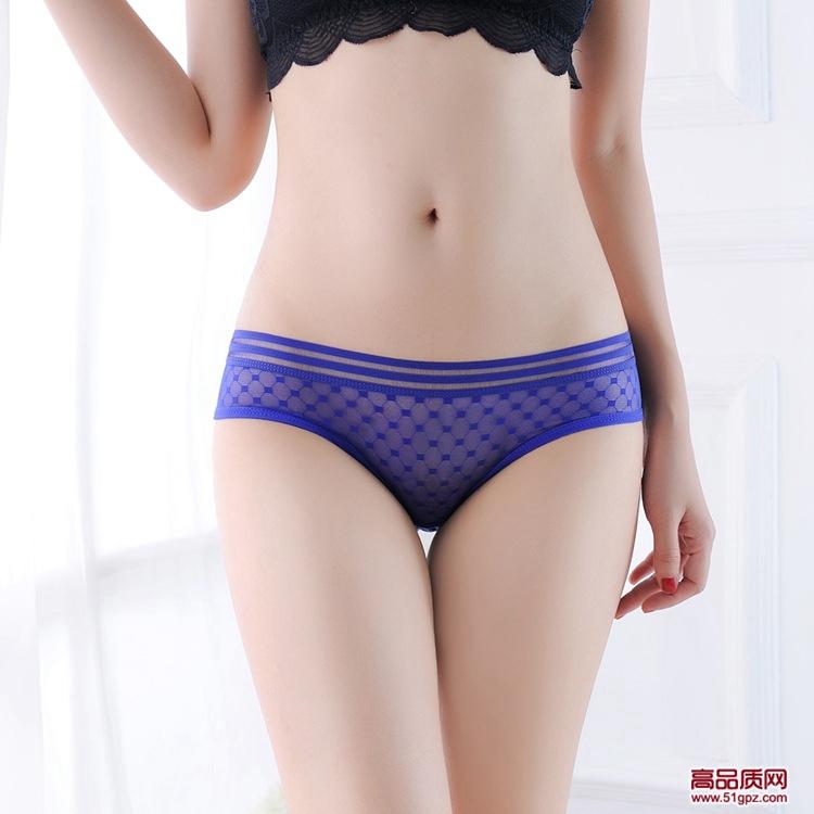 白黄黑玫红蓝肤酒红色性感超薄透明无痕透气女三角裤网纱蕾丝内裤
