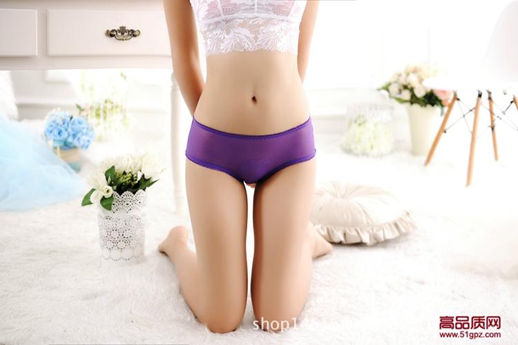 白红紫黑宝蓝酒红玫红西瓜红色性感网纱全透明超薄情趣女低腰透气无痕三角内裤