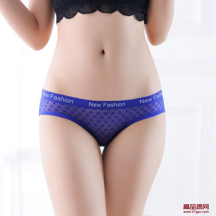 白黄黑酒红宝蓝肤玫红色性感透明薄纱无痕女三角裤蕾丝英文内裤