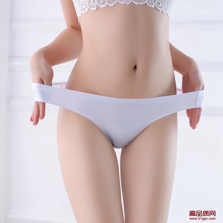 白黑乌兰玫红绿杏色一片式冰丝无痕女士内裤蕾丝性感美臀棉裆丁字裤